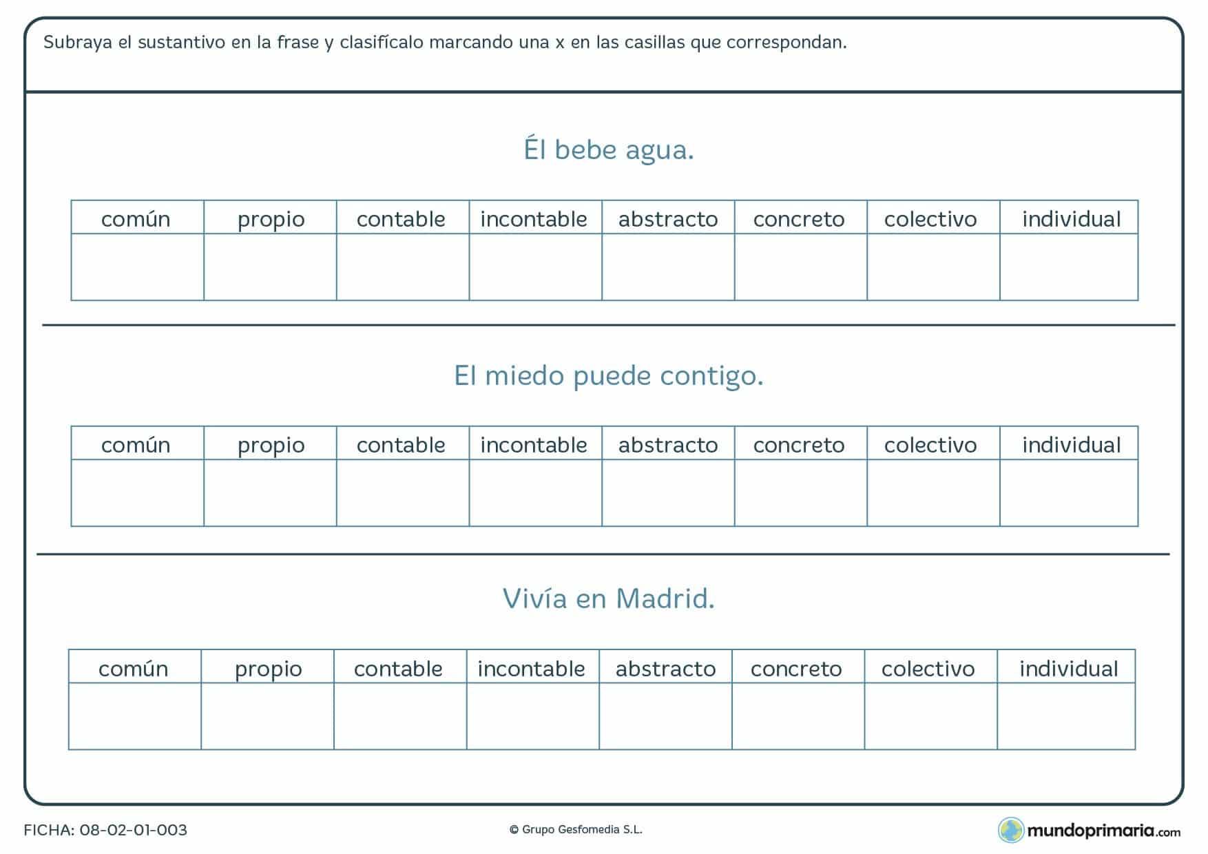 Ficha de subrayar el sustantivo de las frases y clasificarlo