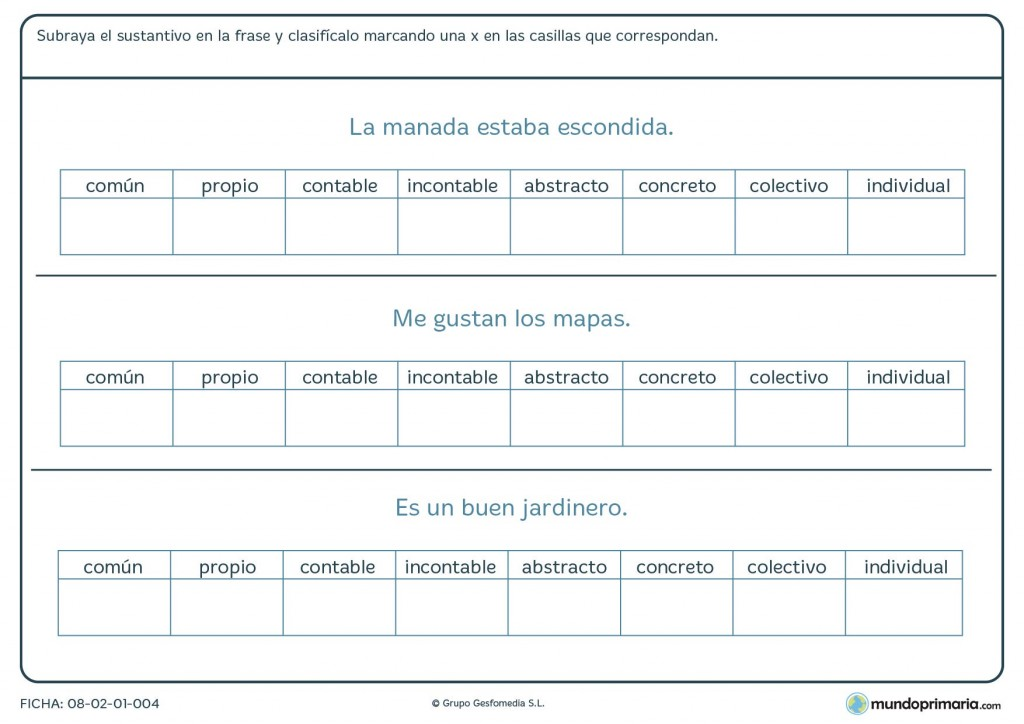 Ficha de organizar los nombres en las casillas para 6º de Primaria