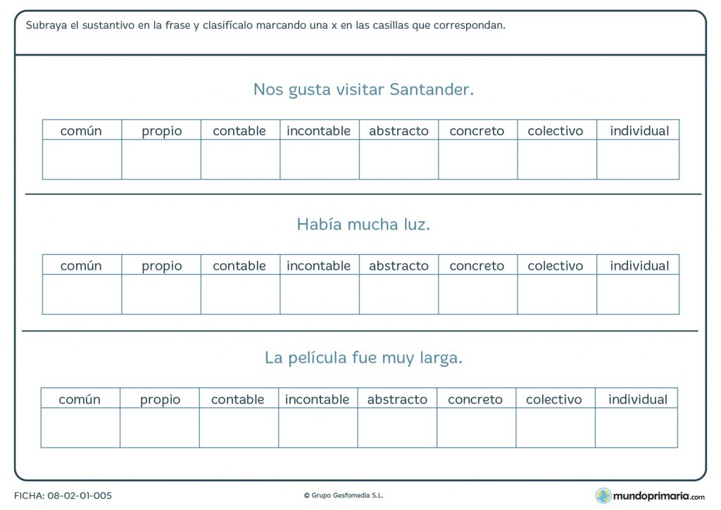 Ficha de nombres o sustantivos para niños que estudian Primaria