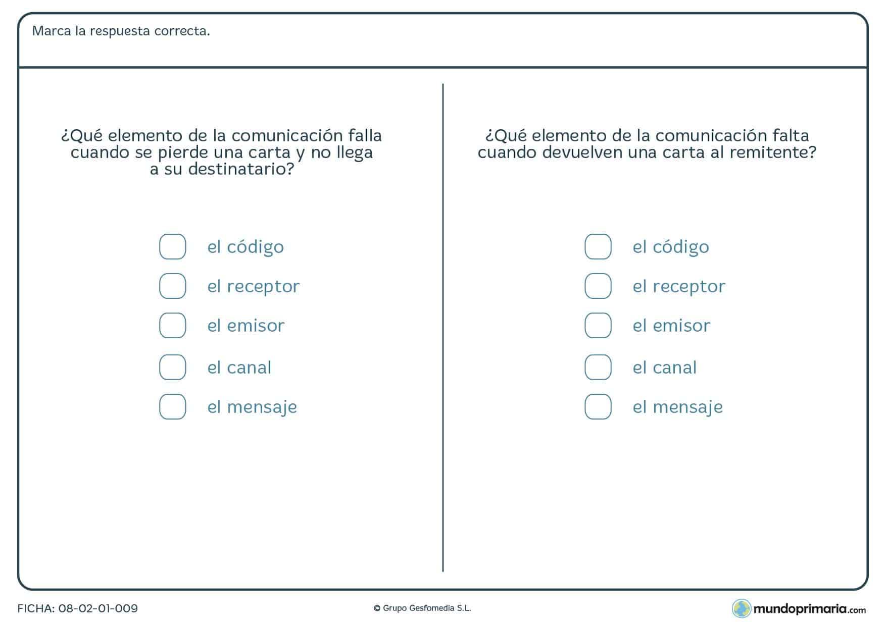 Ficha de marcar la solución sobre la comunicación para Primaria