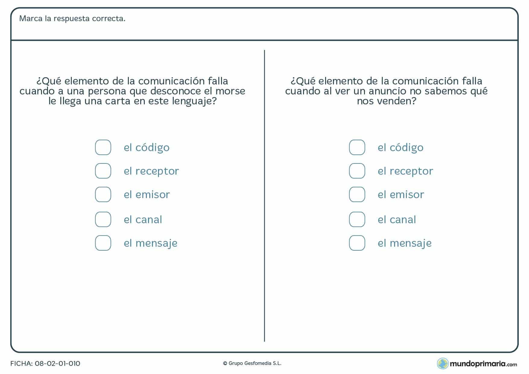 Ficha para aprender la forma de comunicar para niños de 6º curso