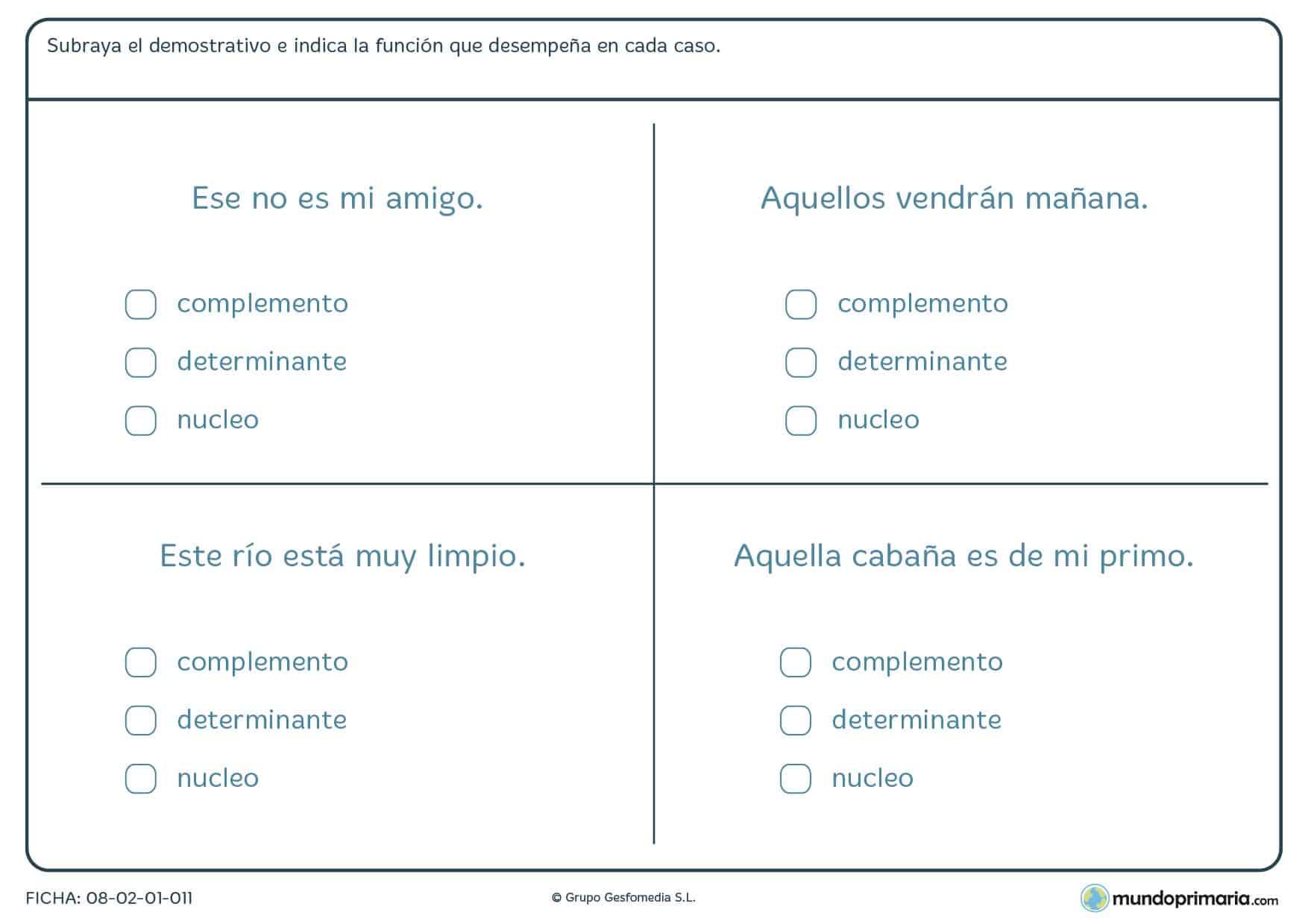 Ficha de demostrativos y sus funciones para niños de Primaria