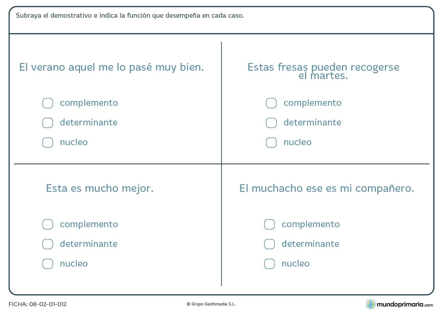 Ficha de lenguaje de palabras que acompañan al sustantivo en Primaria