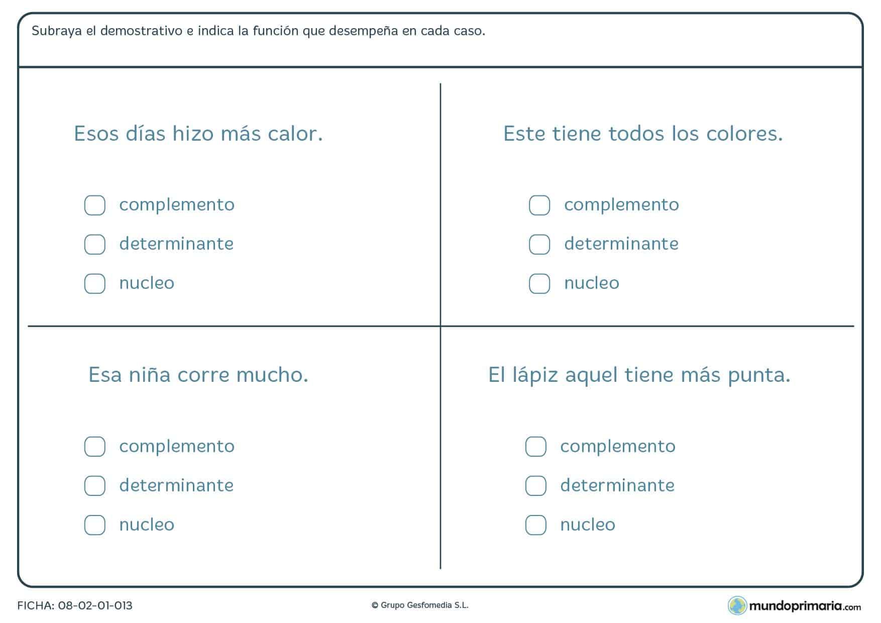 Ficha sobre los determinantes para alumnos de 6º curso de Primaria