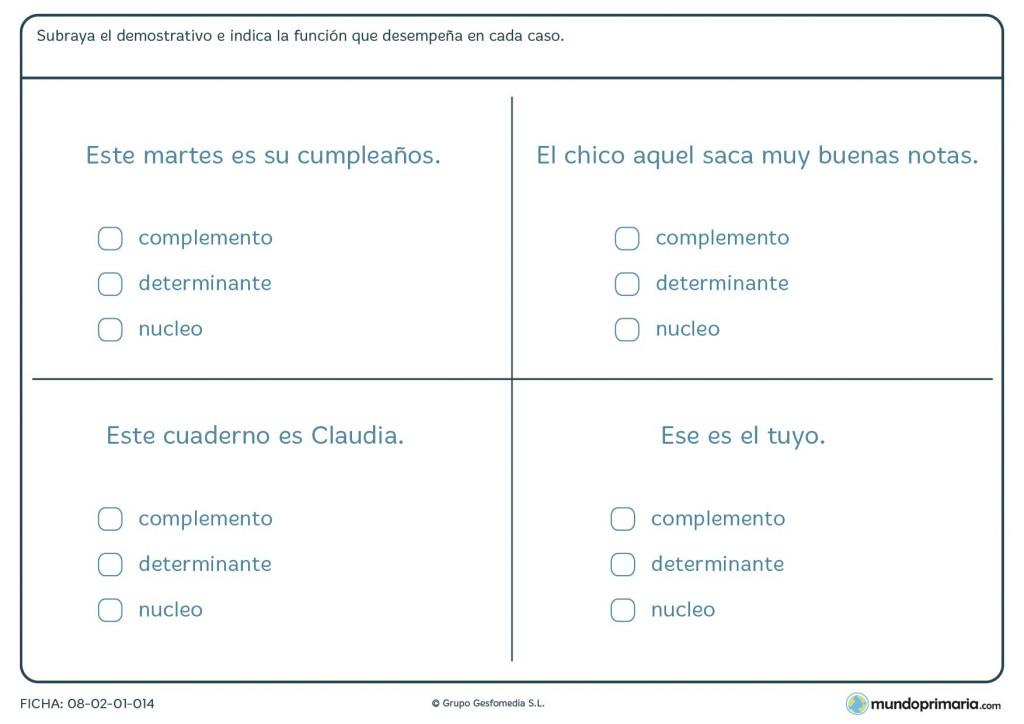 Ficha de determinantes que indican cercanía o lejanía para Primaria