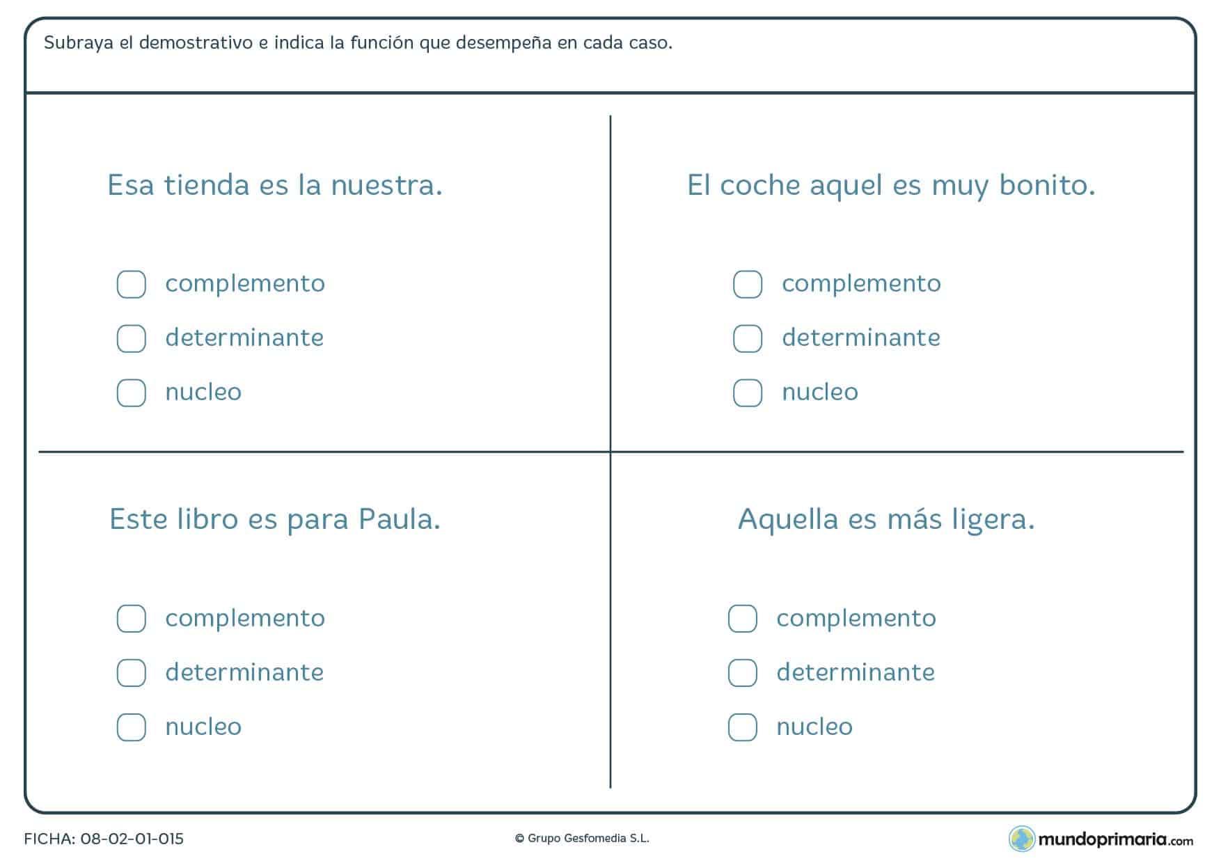 Ficha de lenguaje de gramática de demostrativos para Primaria