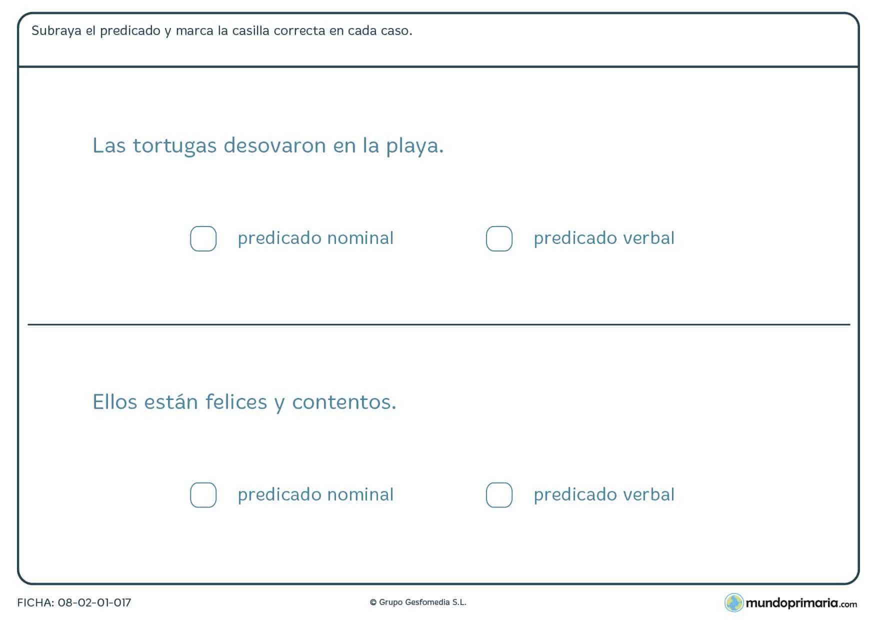 Ficha de marcar si el predicado es nominal o verbal para Primaria