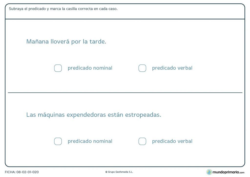 Ficha sobre el predicado verbal o nominal para 6º de Primaria