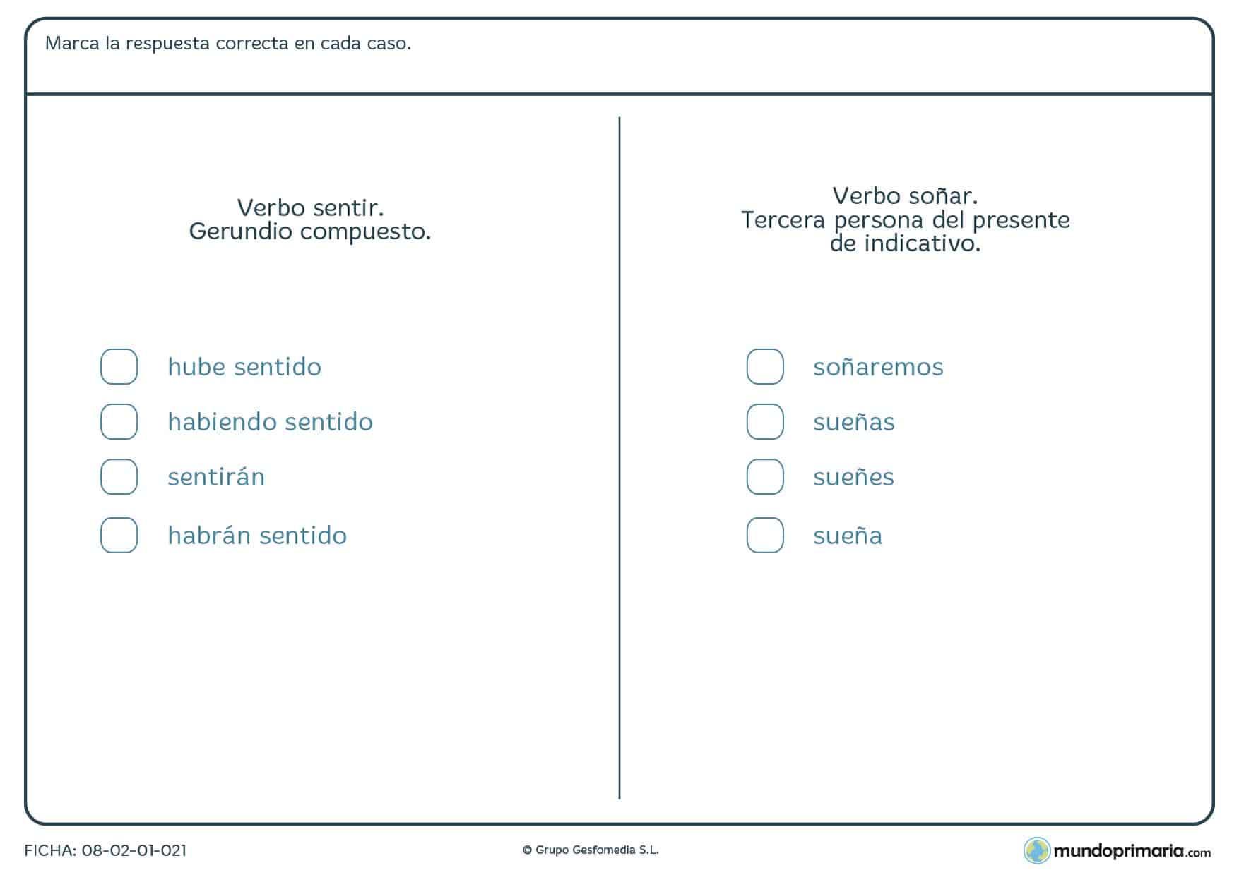 Ficha de las conjugaciones de los verbos para 6º curso de Primaria