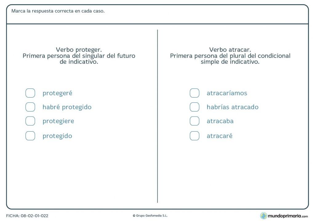 Ficha de la conjugación del verbo proteger y atracar para Primaria