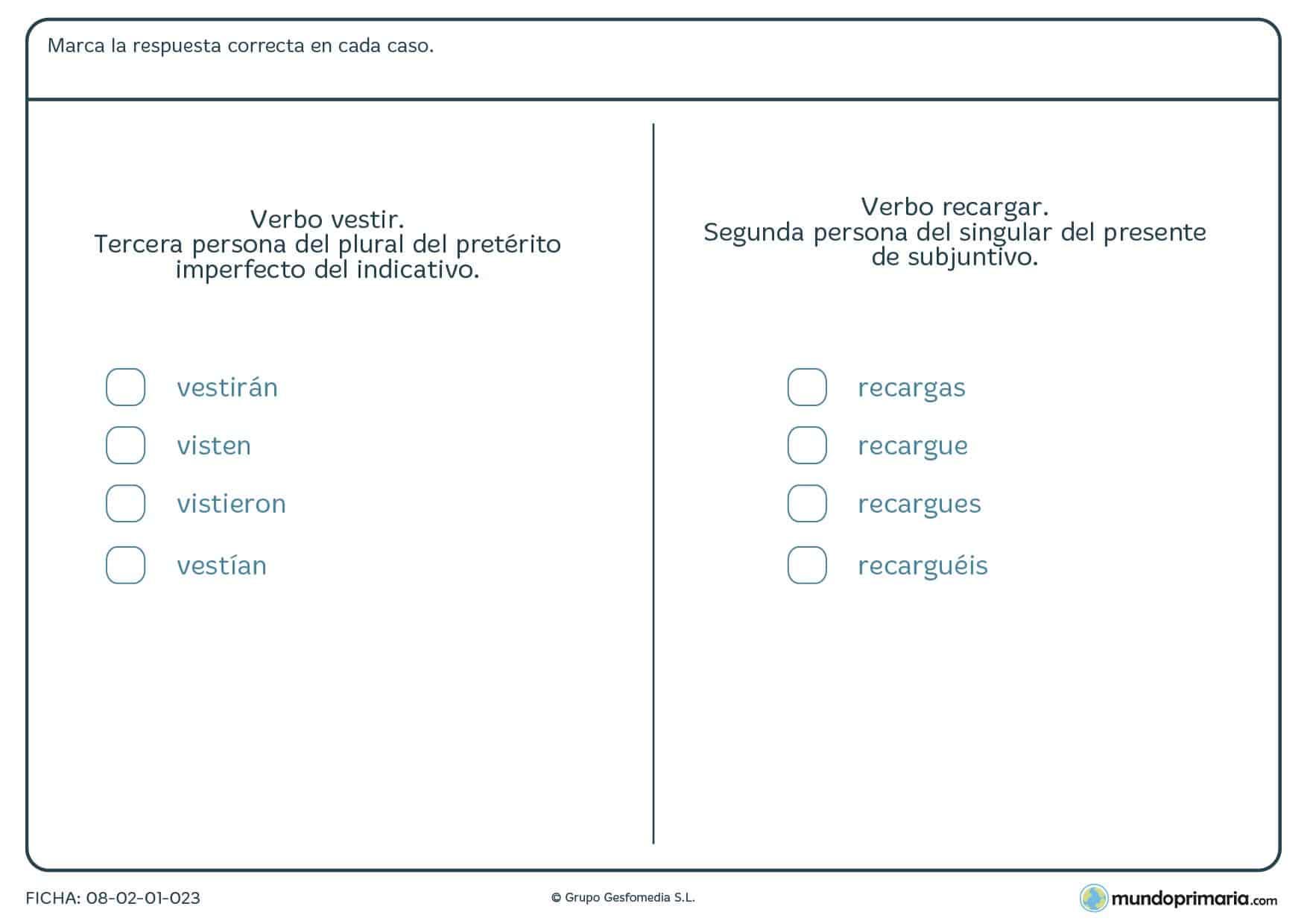 Ficha de verbos de la primera y tercera conjugación para Primaria