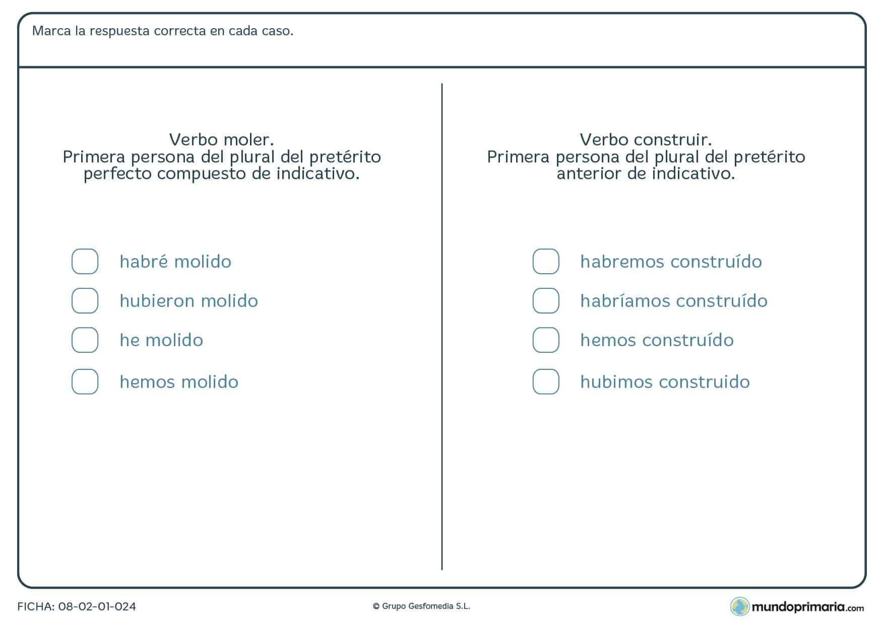 Ficha de verbos irregulares para niños de educación primaria