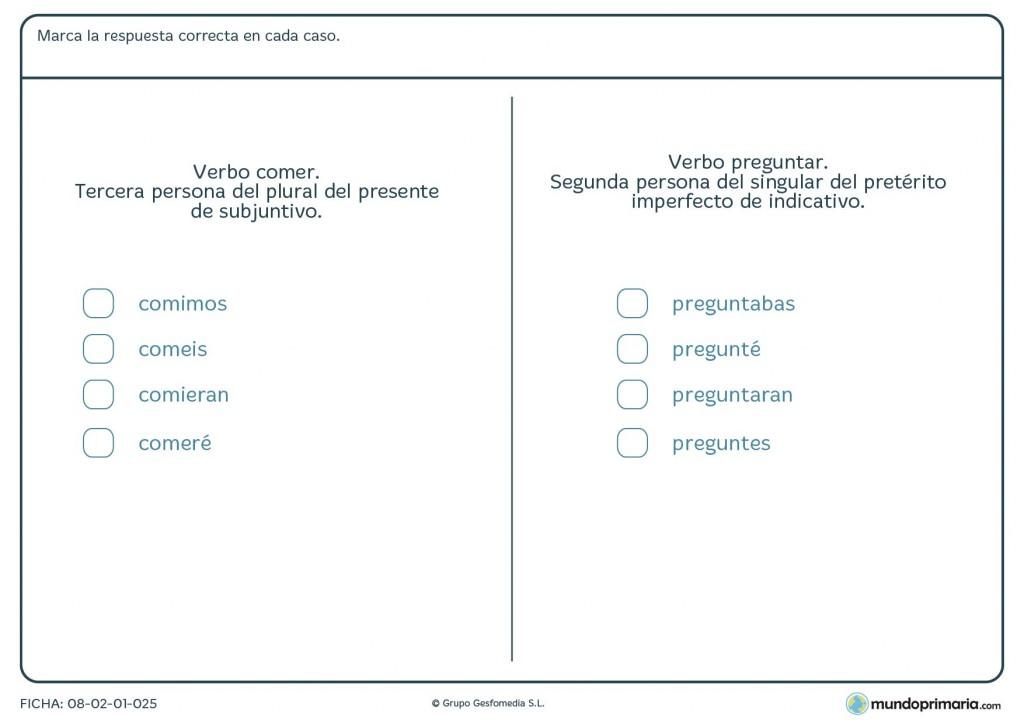Ficha del verbo comer y preguntar sobre sus conjugaciones de Primaria