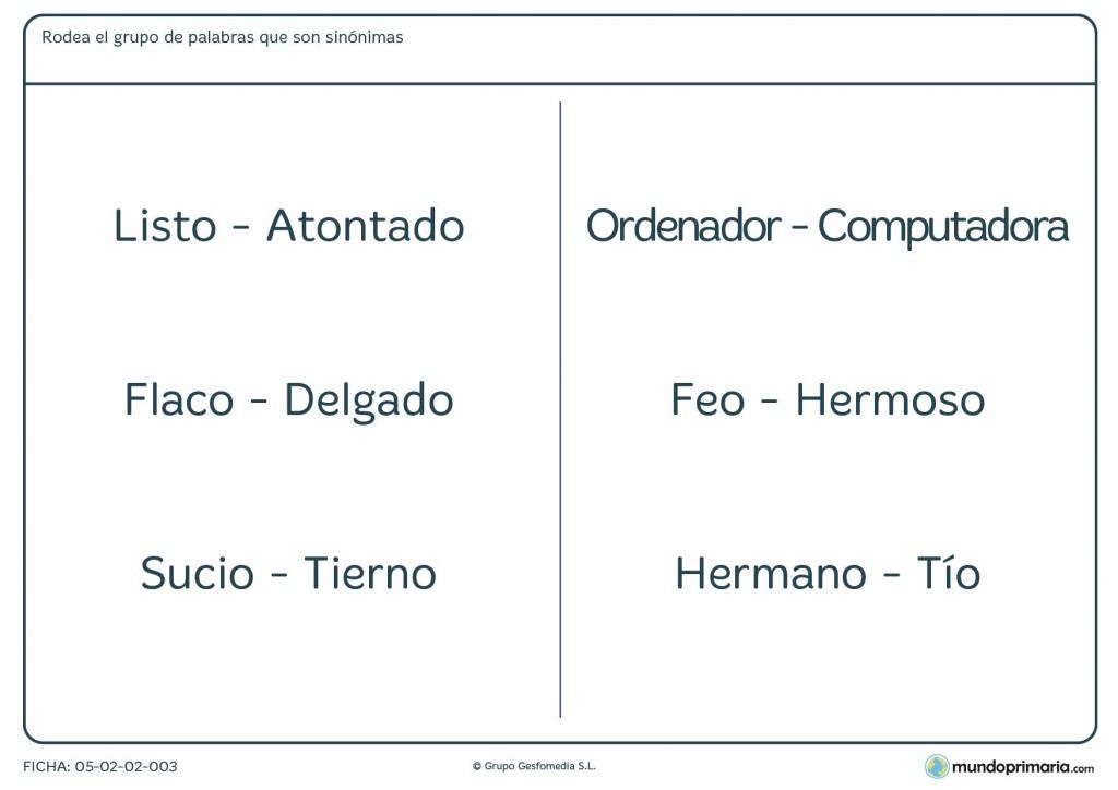 Ficha con palabras de sinónimos para niños de 3º de Primaria