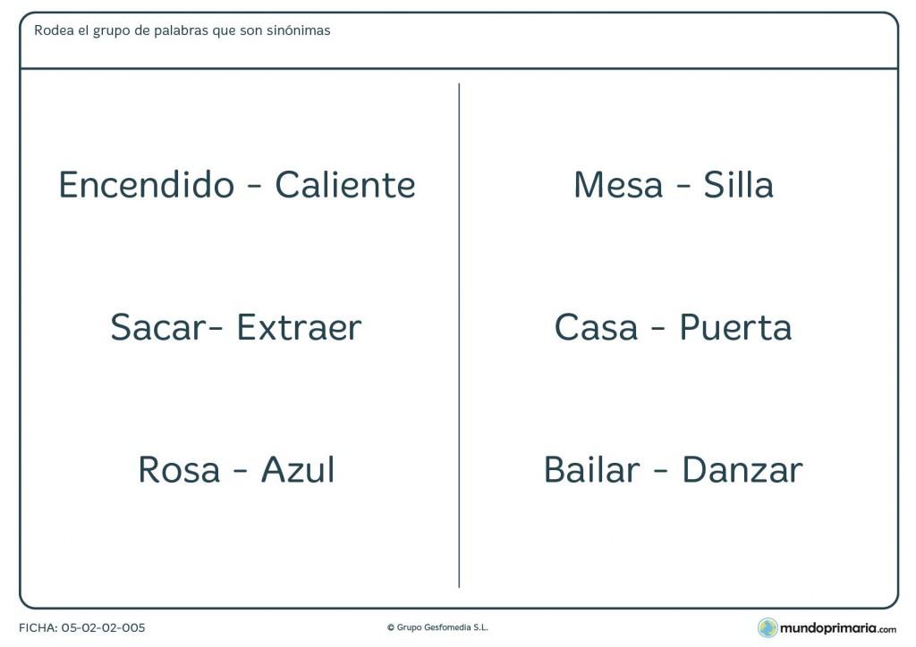 Ficha de seleccionar las palabras que tienen significados parecidos