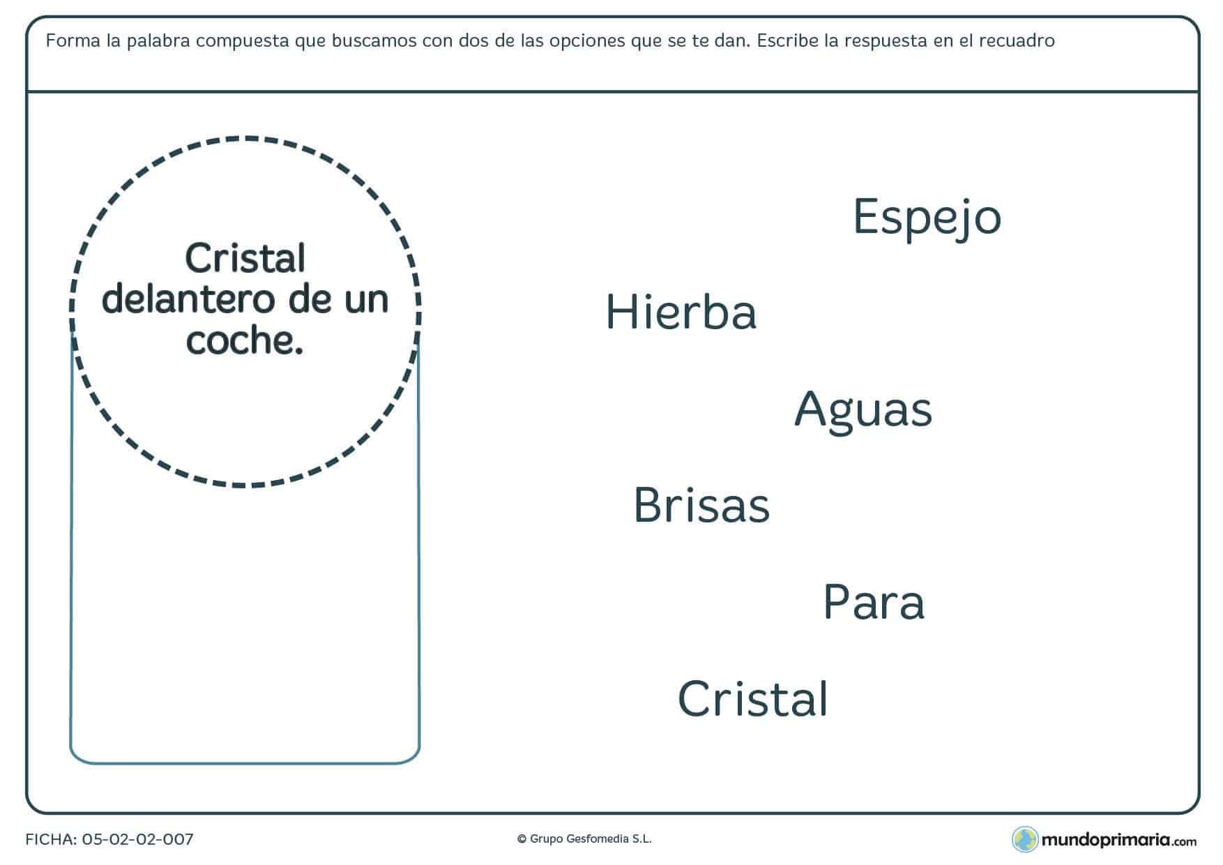 Ficha de lengua sobre formar palabras compuestas para Primaria