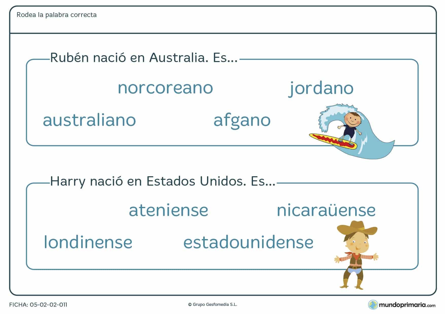 Ficha sobre nacionalidades para niños que estudien 3º de Primaria