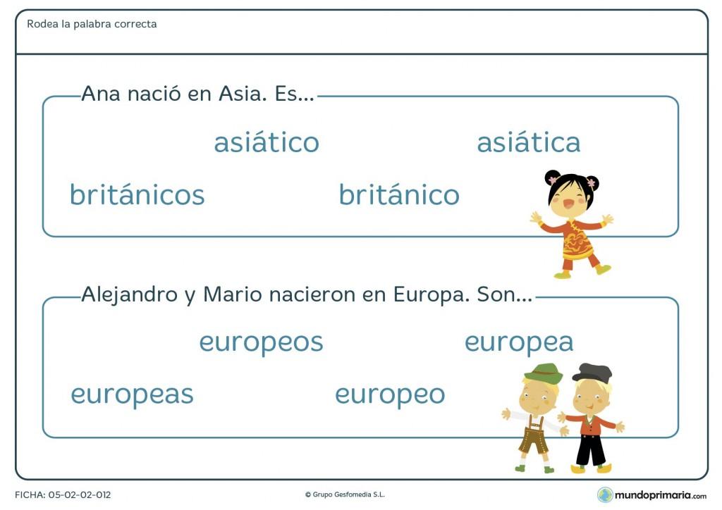 Ficha de lenguaje sobre orígenes de procedencia para Primaria