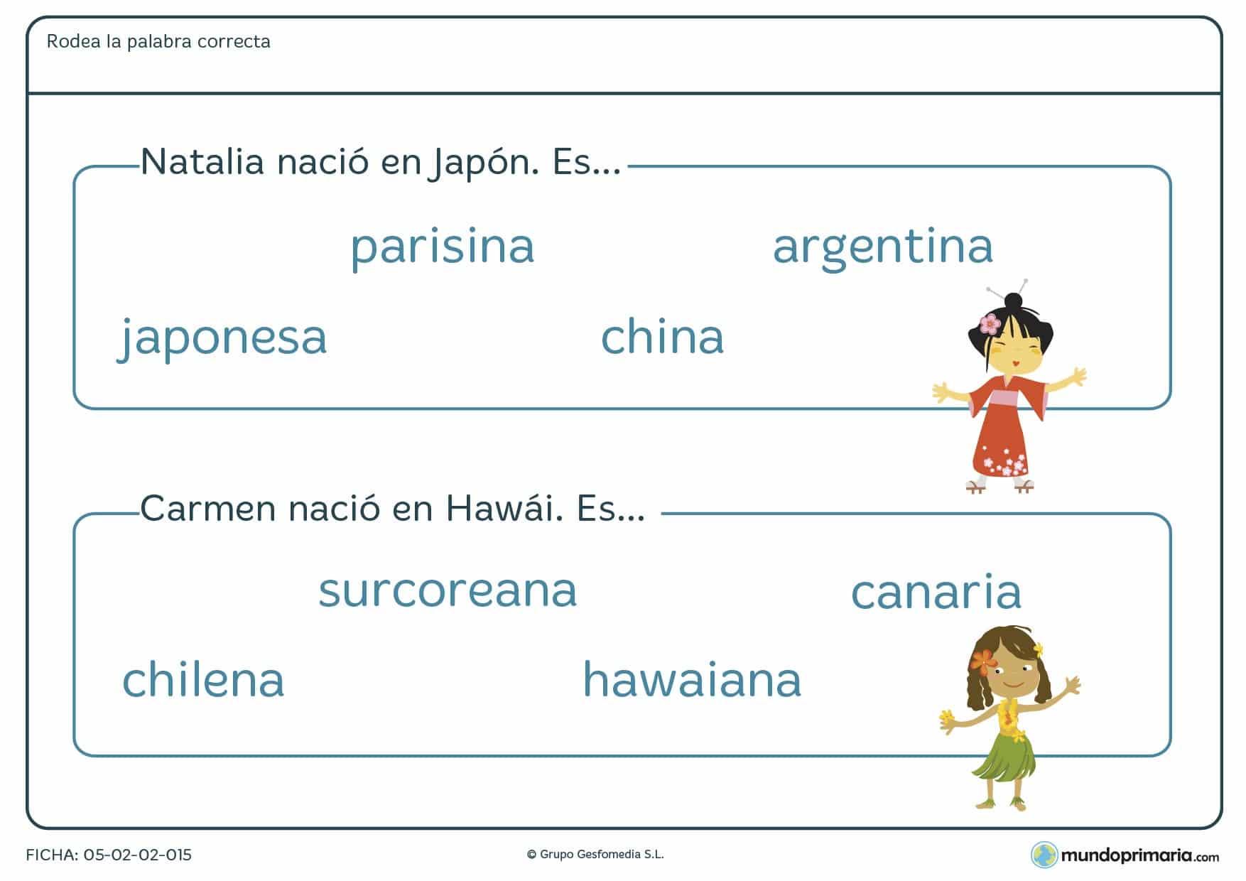 Ficha sobre los orígenes de Japón y Hawái para niños de 3º curso