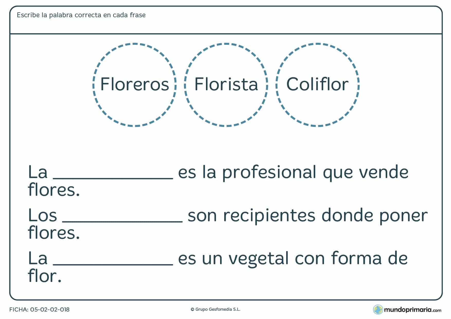 Ficha de lenguaje sobre palabras con igual morfema para Primaria