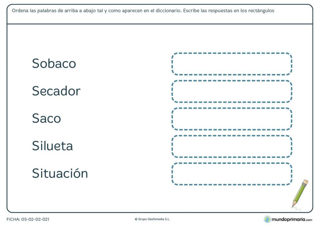 Ficha de lengua para ordenar las palabras por orden alfabético