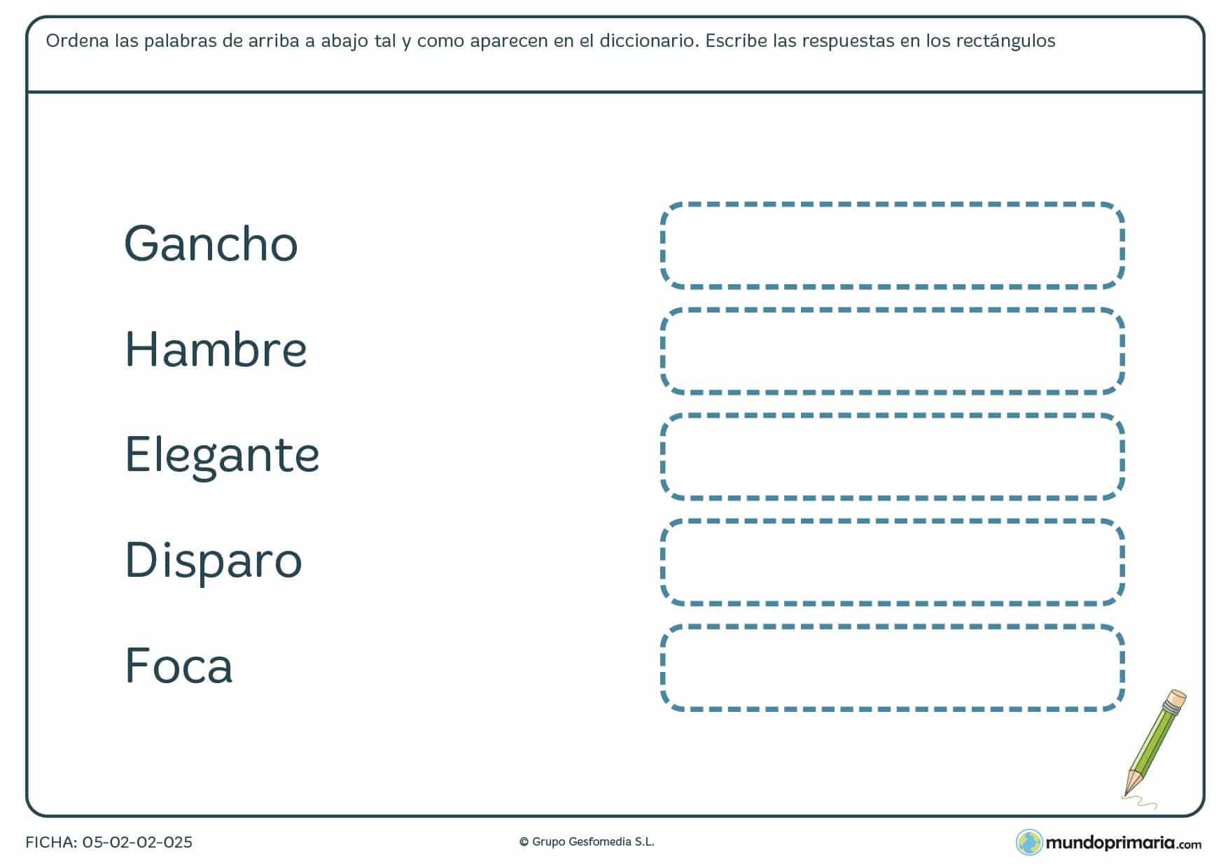 Ficha para hacer la estructura de orden alfabético para 3º de Primaria