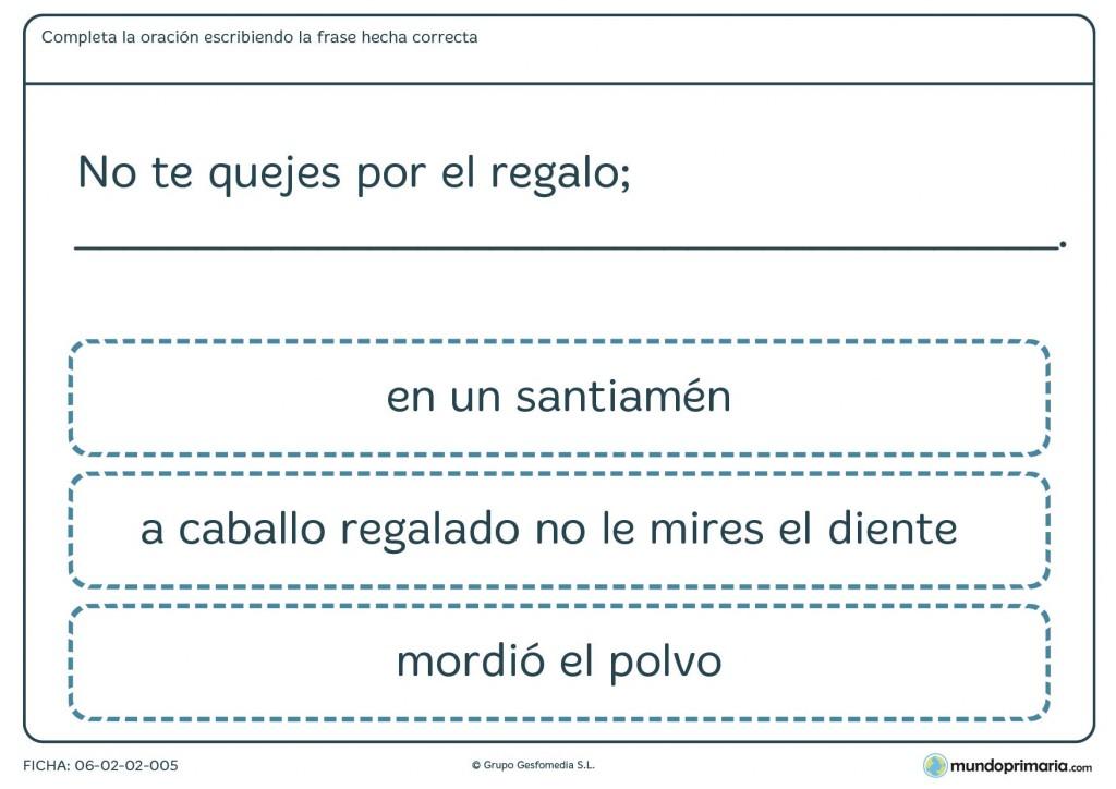 Ficha de frases hechas que encajen con la oración propuesta para 4º