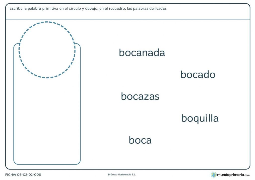 Ficha de palabras primitivas y derivadas para educación Primaria
