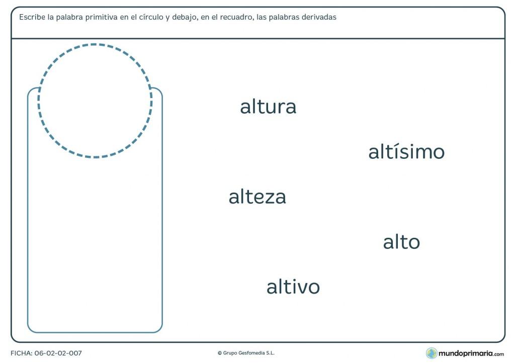 Ficha de escribir la familia de palabras en el círculo y en el cuadro