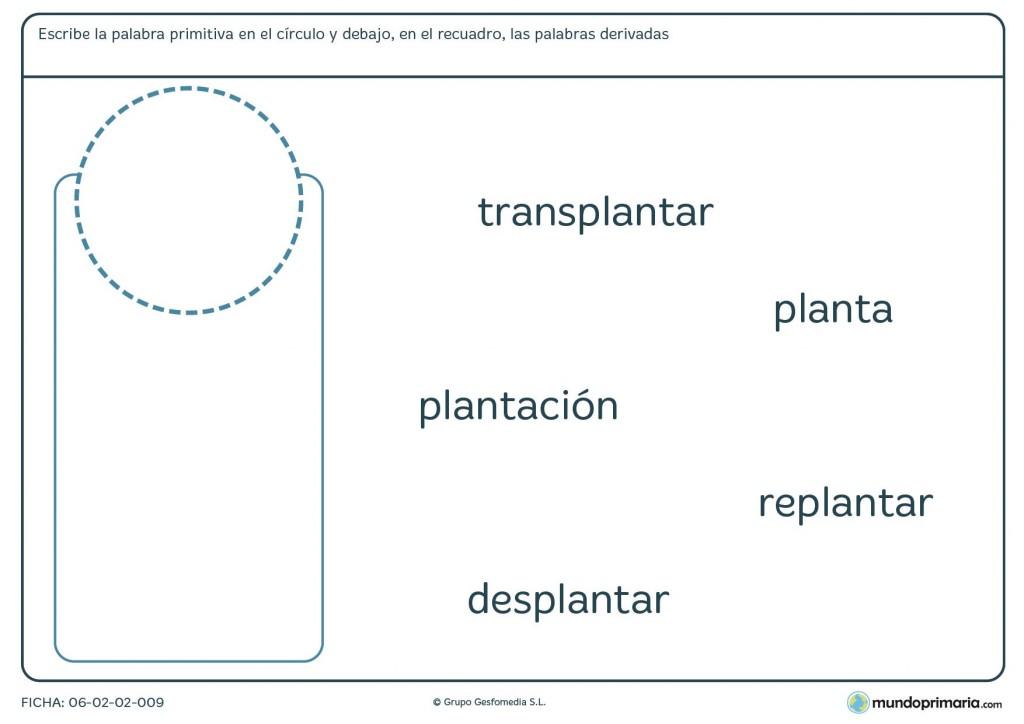 Ficha de aprender lo que son palabras derivadas y primitivas