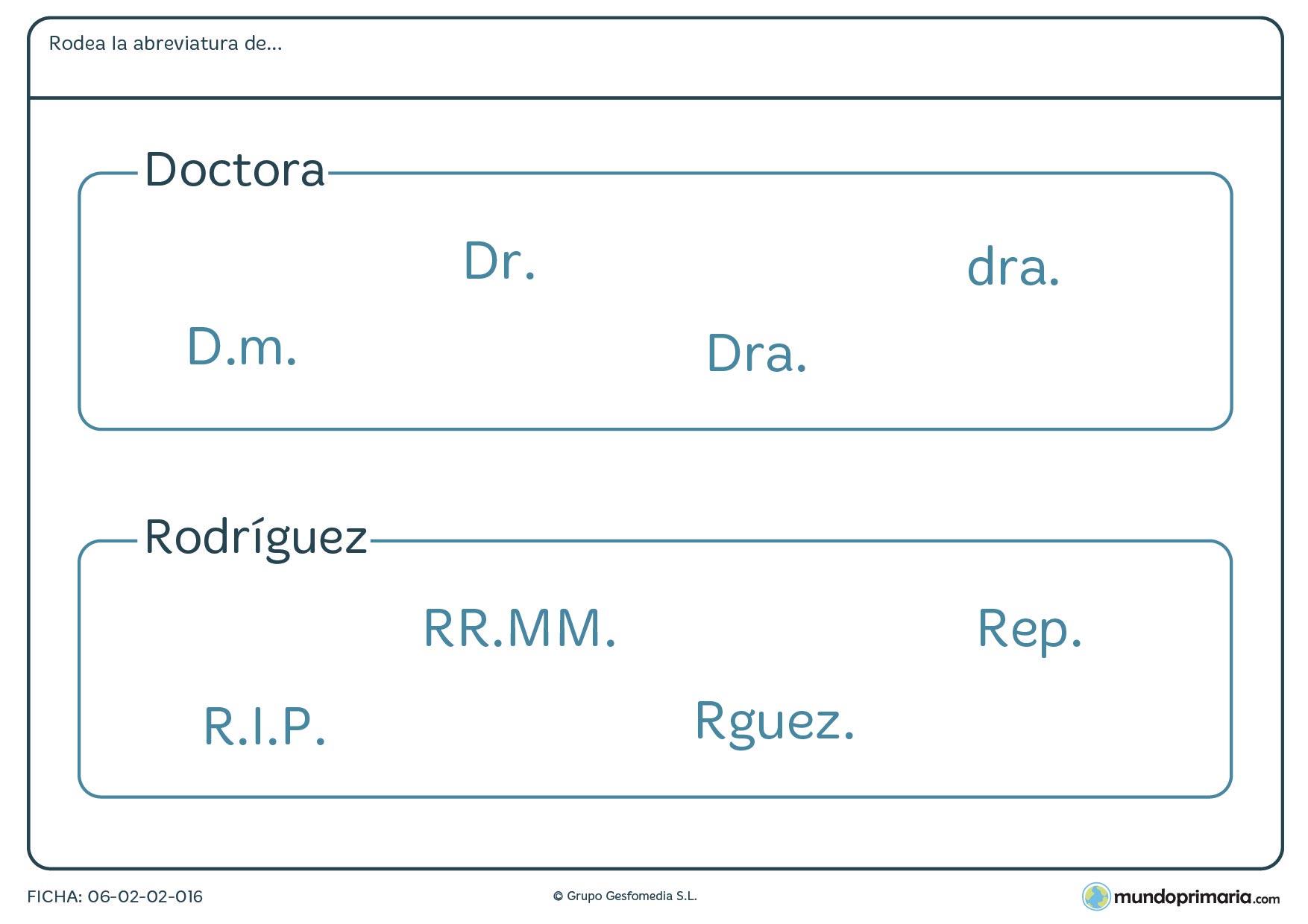 Ficha de relacionar las abreviaturas de doctora y Rodríguez