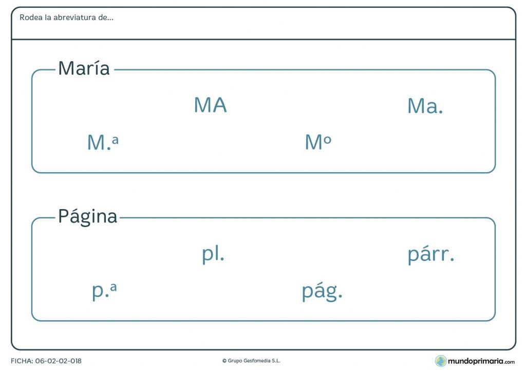 Ficha de seleccionar las abreviaturas de María y página para Primaria