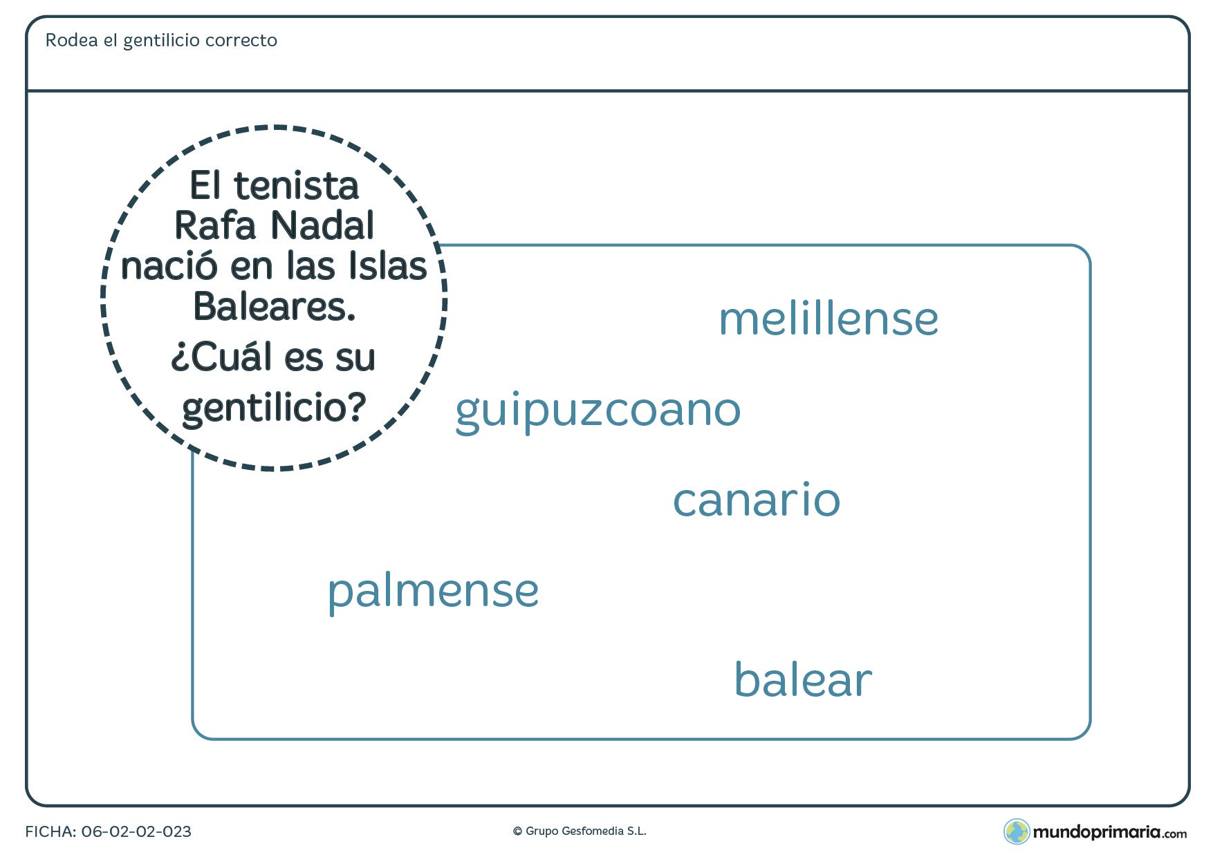 Ficha de rodear el gentilicio correcto para 4º de educación infantil
