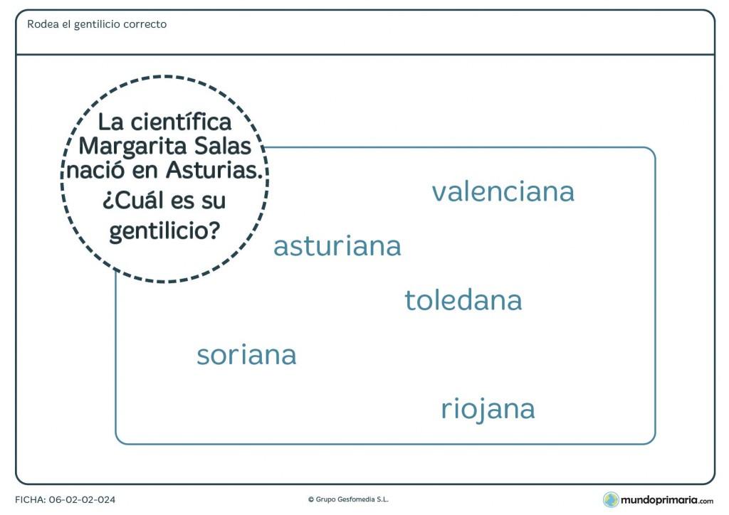 Ficha de lenguaje del gentilicio de Asturias para educación Primaria