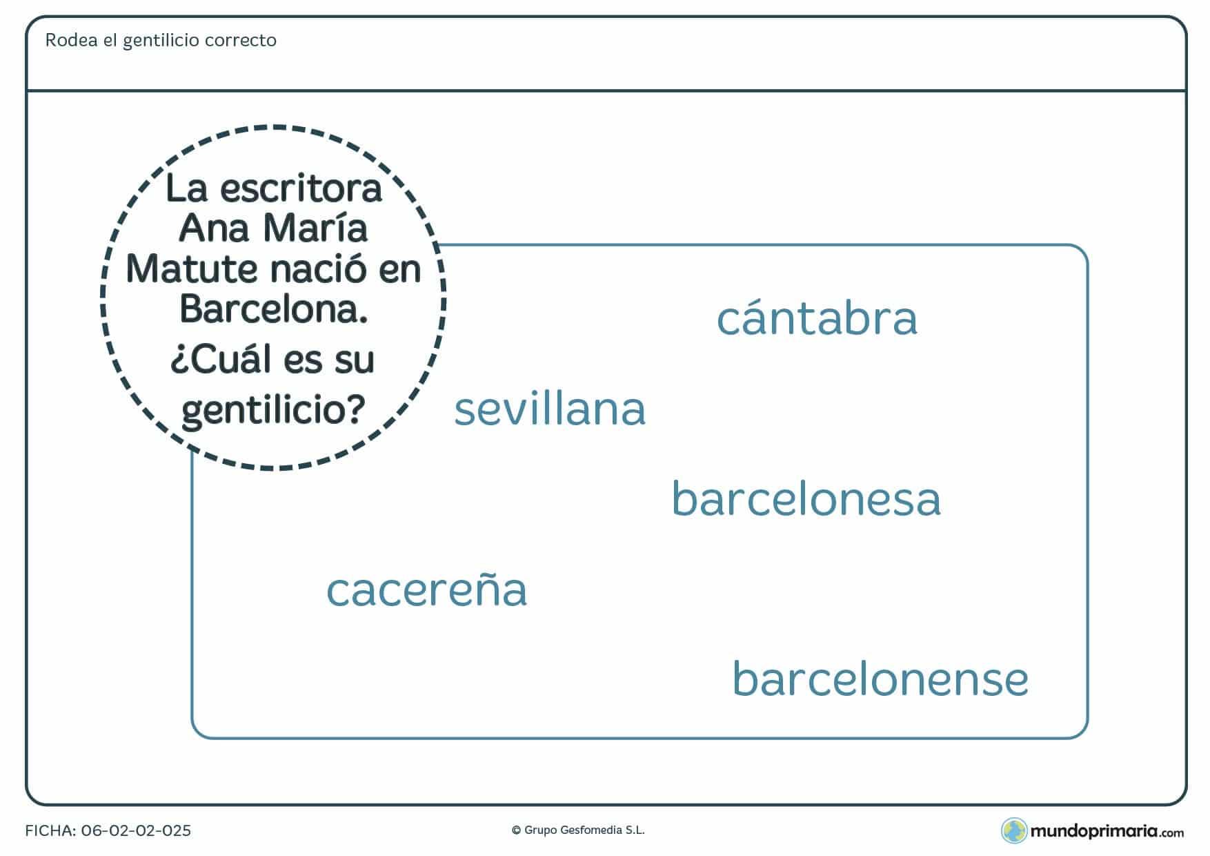 Ficha de señalar el gentilicio de Barcelona para 4º curso de Primaria
