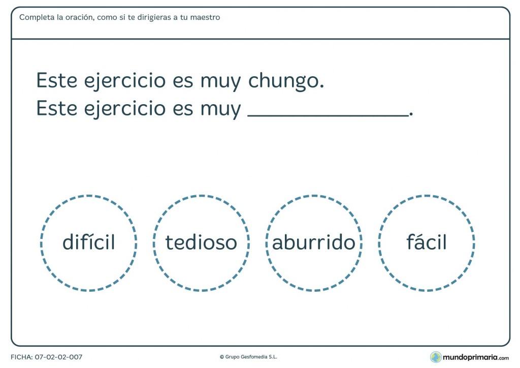 Ficha de cambiar la frase a un lenguaje más formal para el maestro