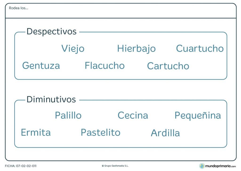 Ficha de rodear los despectivos y los diminutivos para Primaria