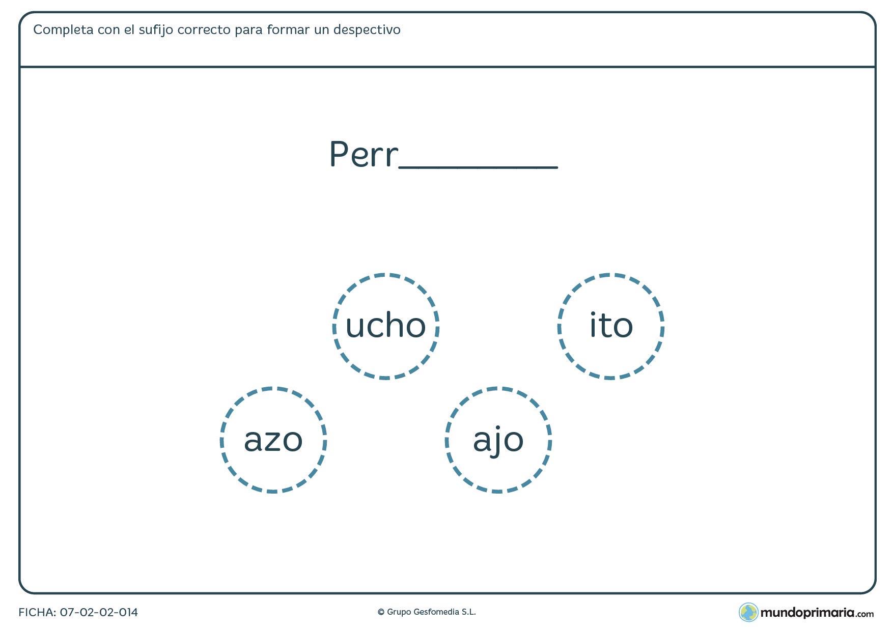 Ficha de lenguaje para aprender despectivos para alumnos de Primaria