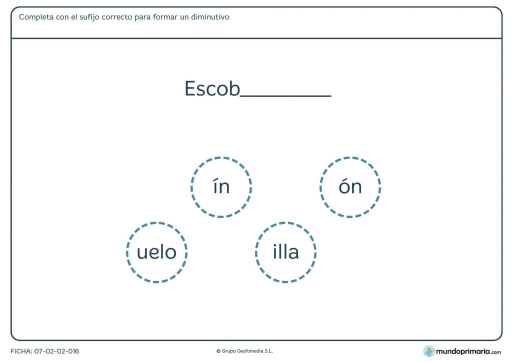 Ficha de vocabulario para formar diminutivos con distintos sufijos