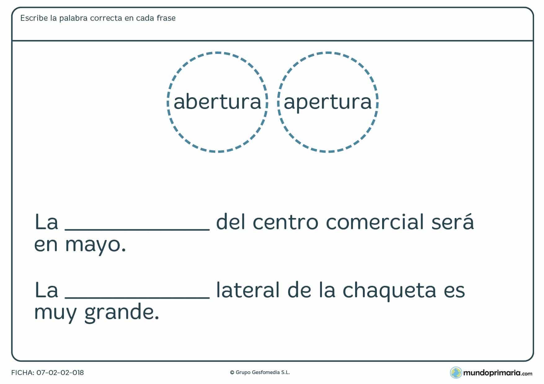 Distinguir las palabras y situarlas en la frase que corresponda