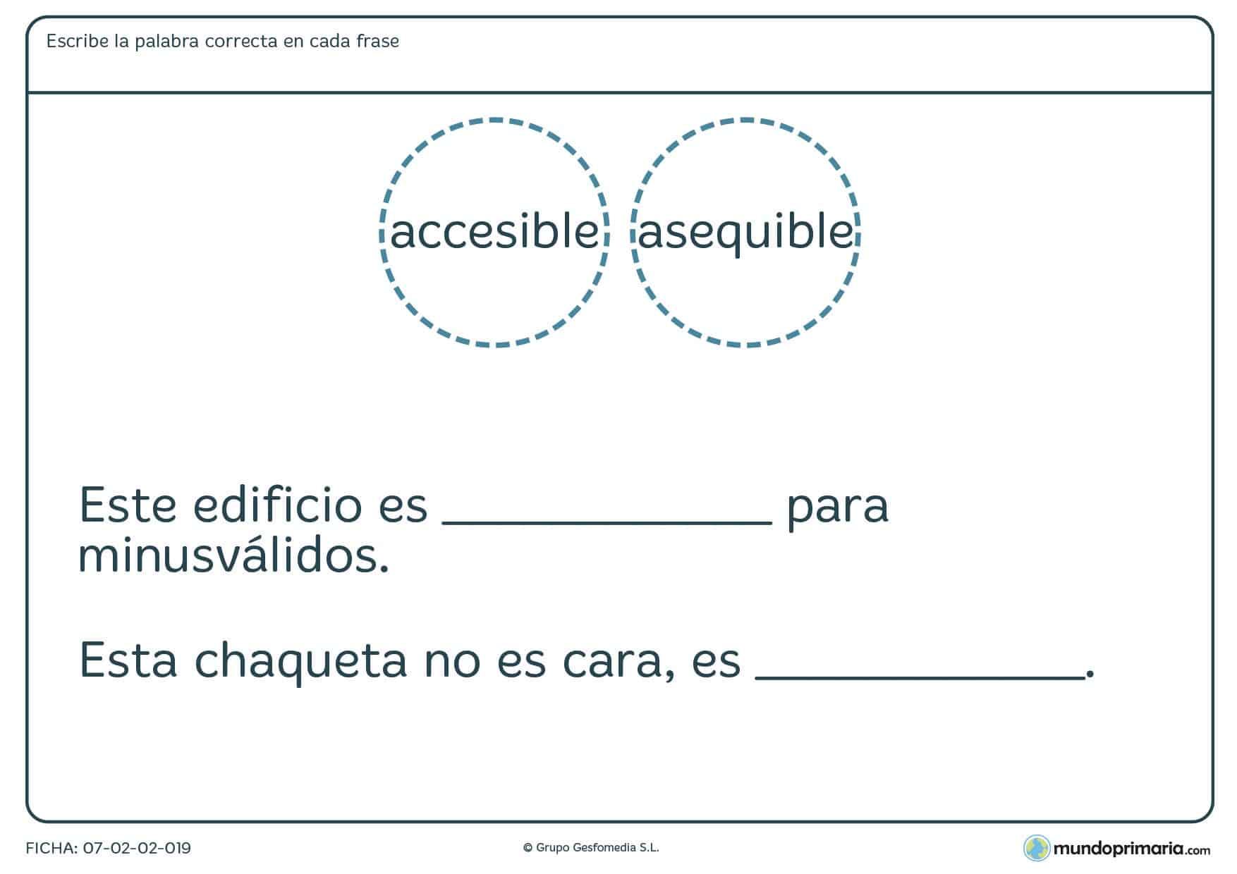 Ficha sobre palabras que se pueden confundir por su significado