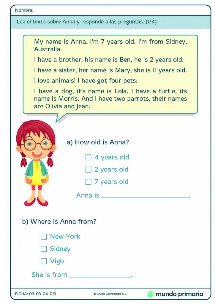 Lee el trexto de Anna y responde a las preguntas formuladas para 1º