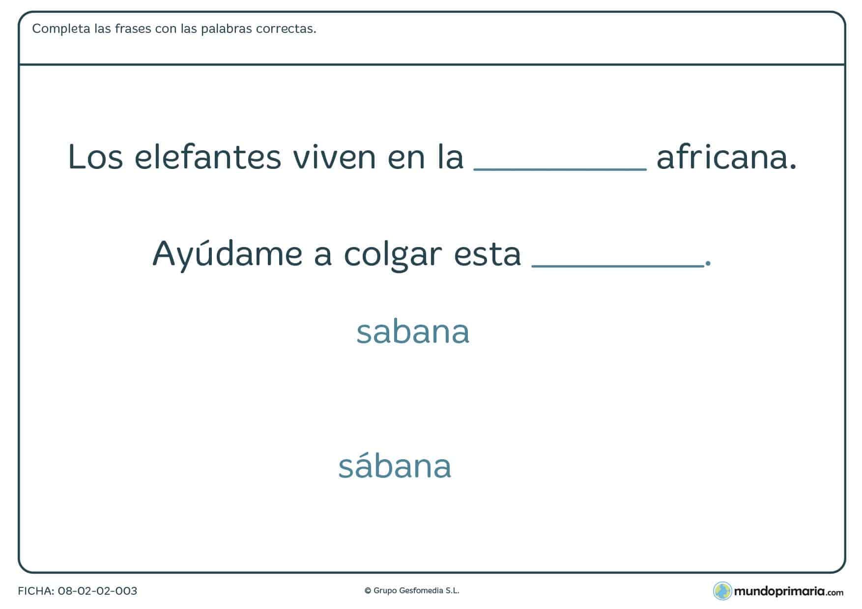 Ficha de completar las frases con las palabras correctas para Primaria