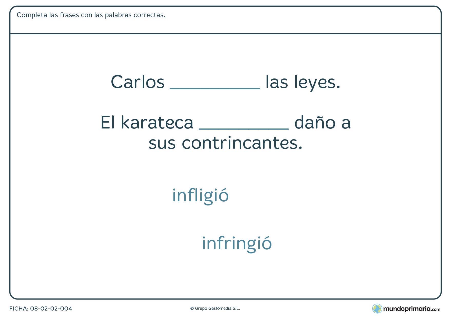 Ficha sobre confusión de palabras para niños de 6º de Primaria