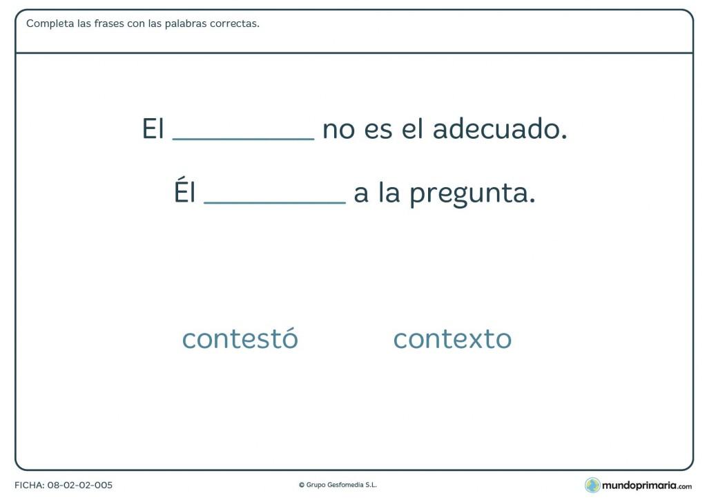 Ficha de palabras similares en escritura para niños de Primaria