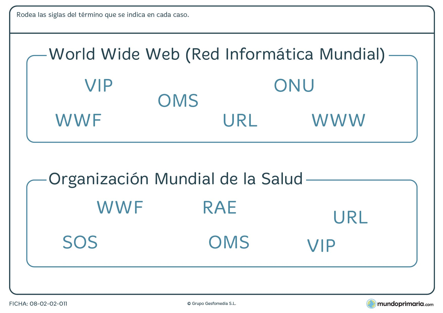 Ficha de lenguaje sobre siglas para 6º curso de Primaria