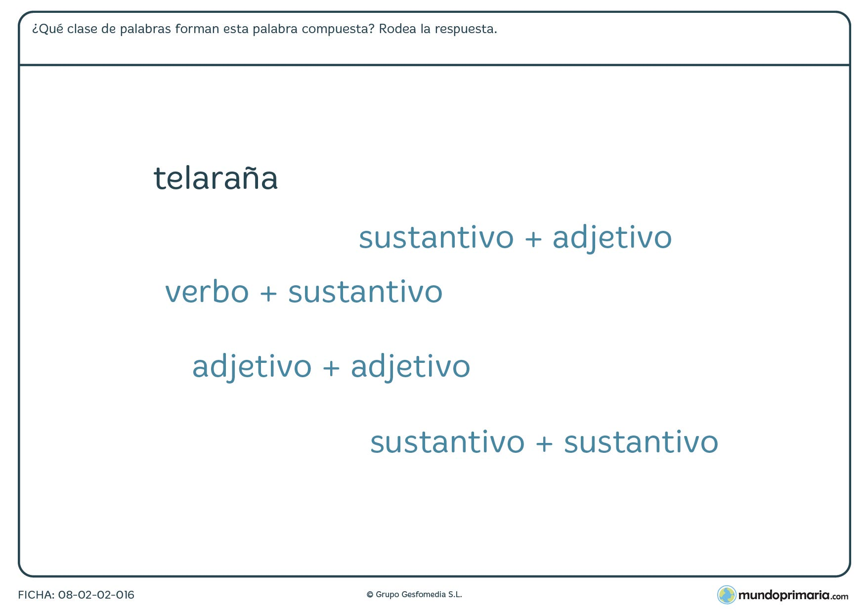 Ficha de palabras compuestas para alumnos de 6º curso de Primaria