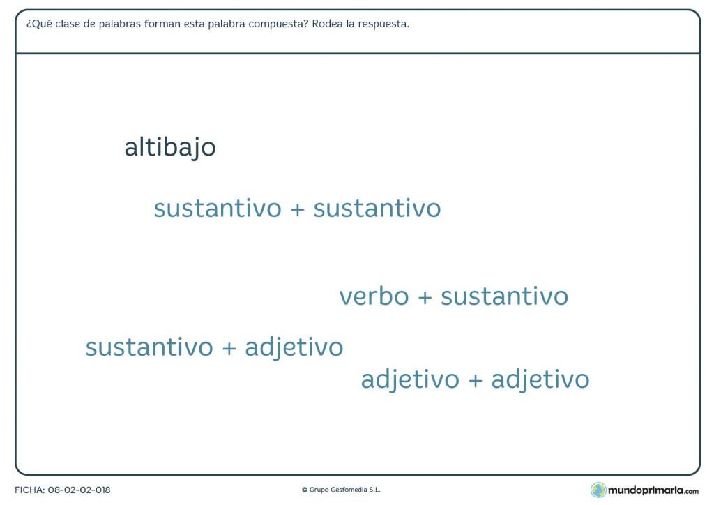 Ficha de 6º curso de educación primaria de palabras compuestas