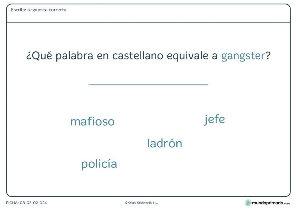 Ficha de lenguaje sobre anglicismos para niños de 6º de Primaria