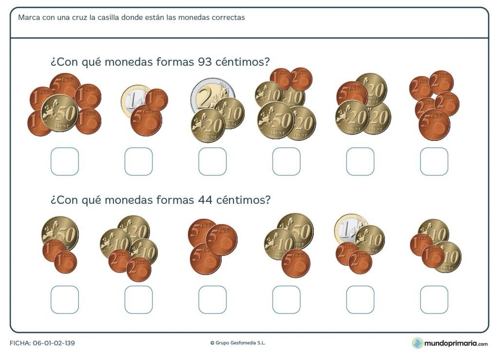 Ficha para sumar monedas de euro para niños de 9 años